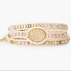 Lucky Brand Druzy Beaded Wrap Bracelet